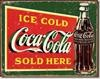1393 COKE ICE COLD GREEN TIN SIGN DSPRT