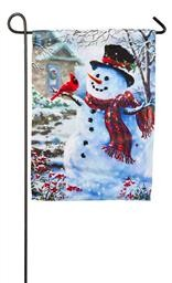 14S3154BL SNOWMAN AND FEATHERED FRIEND SUEDE GARDEN FLAG EVER8