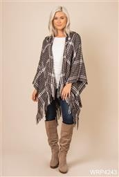 WRP4243 TAUPE PL HOUNDSTOOTH HOODED WRAP NOELLE