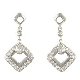 LEP8464S WHITE CZ DIAMOND DROP EARRING BLUEL