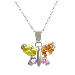 LN8462SLM MULTICOLOR BUTTERFLY NECKLACE BLUEL