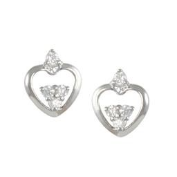 LEP8735S SIMPLE HEART EARRING WITH WHITE CZ'S BLUEL