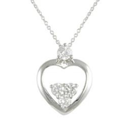 LN8735S SIMPLE HEART NECKLACE WITH WHITE CZ'S BLUEL
