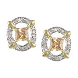 LEP8913CH 2 TONE OPEN CIRCLE CHAMPAGNE WITH CZ EARRING DISC