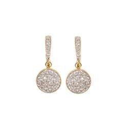 LEE8639T 2 TONE PAVE CIRCLE DROP EARRING BLUEL