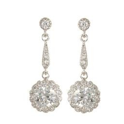 LEP8478S FLOWER CZ DROP EARRING BLUEL