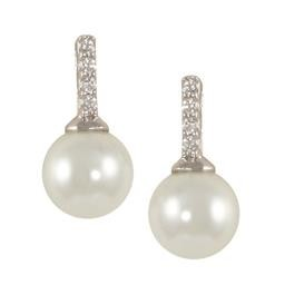 LEP8485S 4 CZ POST WITH PEARL DROP EARRING BLUEL