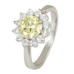 LR8798SPT-09 SIZE 9 PERIDOT & WHITE POINTY FLOWER RING BLUEL