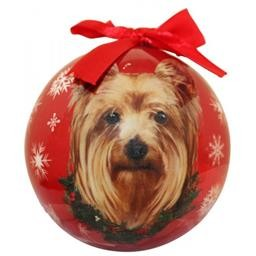 CBO-46 YORKIE ORNAMENT CHRISTMAS BALL E&S