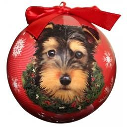 CBO-107 YORKI PUP ORNAMENT CHRISTMAS BALL E&S