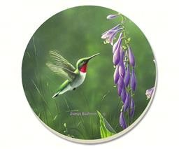 47133 HUMMINGBIRD HOSTA COASTERS SET OF 4 GLDC