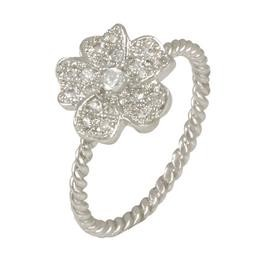LR8443S-06 BL PAVE FLOWER RING WITH CABLE BAND LAMAR