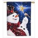13S4600BL BE MERRY SNOWMAN SUEDE HOUSE FLAG EVERG