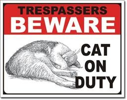 2215 CAT ON DUTY TIN SIGN DSPRT