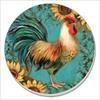 85768 ROOSTER ON TEAL COASTERS SET OF 4 COUNTER ART