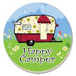 47691 HAPPY CAMPER COASTER ROUND SET OF 4 COUNTER ART