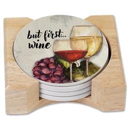 88349 WINE TIME COASTER ROUND SET OF 4 WITH HOLDER COUNTER ART