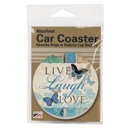 08397 LIVE-LAUGH-LOVE BUTTERFLY CAR COASTER GLDC
