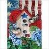 13S8542 PATRIOTIC BIRDHOUSE SUEDE HOUSE FLAG EVERG