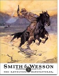 1876 SMITH & WESSON - HOSTILES TIN SIGN DSPRT